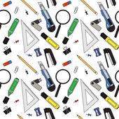 Stationery tools seamless pattern Eraser clip binder pencil knife magnifying glass green marker usb flash drive yellow marker sharpener stapler triangular ruler paper clip