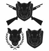 Hunting trophy Wild boar head with 2 crossed shotguns laurel wreath wood shield Vector black clip art silhouette illustration isolate on white