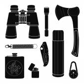 Camping equipment silhouettes set Vector black clip art isolated on white