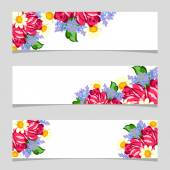 Three floral banners with place for text