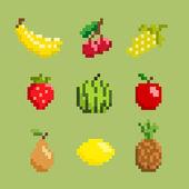 Fruits icon set pixel art style