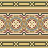 Historic intricate border pattern consisting of circles and floral motifs in red yellow blue and ocher colors
