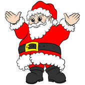 Santa Claus in red suit with gold belt buckle holding hands raised waving