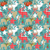 Christmas seamless pattern. Reindeer vintage background. Christmas forest background. Reindeer seamless pateern. Scandinavian style. Christmas collage abstract background