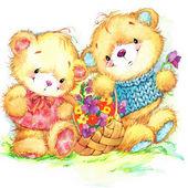 Teddy bear. Születésnapi Üdvözlet festival.watercolor készlet