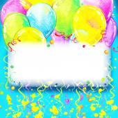 Geburtstag-Hintergrund mit bunten Luftballons und Konfetti w fliegen