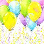 Geburtstag-Hintergrund mit bunten Luftballons und Konfetti o fliegen
