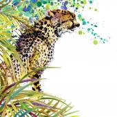Tropical exotic forest, green leaves, wildlife, cheetah predator, watercolor illustration.