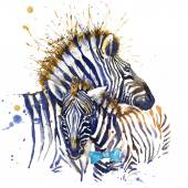 Zebra family T-shirt graphics. zebra illustration with splash watercolor textured  background. unusual illustration watercolor zebra for fashion print, poster, textiles, fashion design