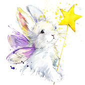 Bunny fairy T-shirt graphics. bunny fairy illustration with splash watercolor textured background. unusual illustration watercolor bunny fairy for fashion print, poster, textiles, fashion design