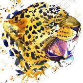 Leopardí vrčí tričko grafika, ilustrace leopard s logem akvarel texturou pozadí. ilustrace akvarel leopard pro módu tisknout, plakát pro textil, módní design