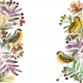 Akvarell madár, virágok és növények. akvarell virágos természetes háttér. akvarell festészet. madár, rózsa, levelek és bogyók háttér
