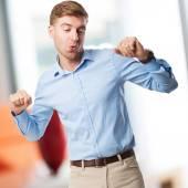 Blond man dancing