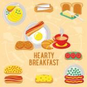 Vektorové plochý nápis snídaně. Vydatné