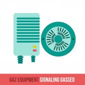 Vector flat icon gas equipment for the kitchen and bathroom  Signaling gassed Web design booklets brochures advertisements manuals technical descriptions Isolated on a white background