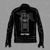 Jacket with a logo on the back in the form of a stylish old gas station