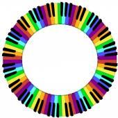 Kerek színes zongora billentyűzet-keret