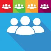 Group of people icon on color backgrounds