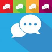 Chat sign icons on color background