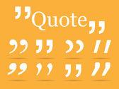 White Quotation marks on orange background