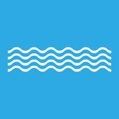 Icona di onde bianche, isolato su priorità bassa blu