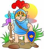 Kočka, oblečený jako rytíř