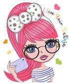 Vector cute cartoon girl with pink hair makes selfie