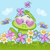 Cute cartoon frog on the meadow with flowers