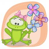 Greeting card frog with flowers