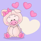 Greeting card pig and hearts