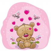 Teddy Bear with flowers and butterflies