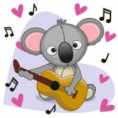 Koala with a guitar on background music and heart