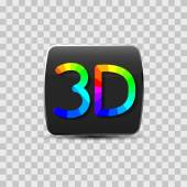 Sign of a three-dimensional video isolated on a gray background rainbow letters vector illustration