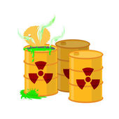 Yellow barrel with a radiation sign Open container of radioactive waste Green spilled acid Vector illustration