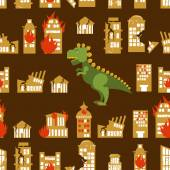 Monster destroys city Street and House broken Godzilla in seamless pattern Scary dinosaur destroyed urban structure Scary big green animal and office buildings