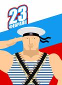 23 February Day of defenders of fatherland flag of Russia Patriotic holiday in Russia Soldiers in uniform Russian military sailor vest Text in Russian: 23 February Greeting card