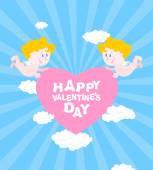 Happy Valentines day Greeting card for Valentines day - Valentine Two Angels hold heart Cute funny cupids and pink heart Clouds and skies