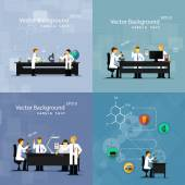 Vector illustrations of scientists in laboratories conducting research