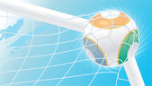 3d colorful soccer ball in the net goalpost