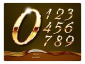 Golden stylish digits with shadow and reflections Set Zero 0 One 1 Two 2 Three 3 Four 4 Five 5 Six 6 Seven 7 eight 8 nine 9 vector  The rest of italic letters of the alphabet in my portfolio