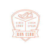 Run Club Red Label Vector Design Print In Bright Color On White Background