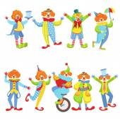 Collection Of Colorful Friendly Clowns In Classic Outfits Childish Circus Clown Characters Performing In Costumes And Make Up
