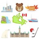 Постер, плакат: Canadian National Symbols Set