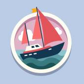 Ship with sails. Travel, flat style vector illustration
