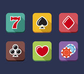 Casino game of fortune gambling roulette slot machine icons set
