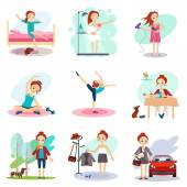 Free time Schedule flat icons set abstract vector isolated