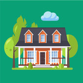 Colorful Flat style Residential House vector illustration