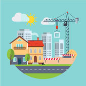 Flat Design Vector Building Construction