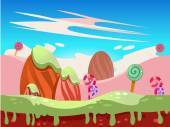 Cartoon fairy tale landscape Candy land illustration for game background