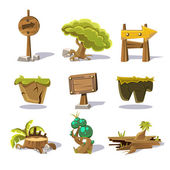 Cartoon nature elements vector objects on white background vector